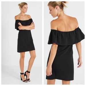 NEW Cotton On black off the shoulder frill dress